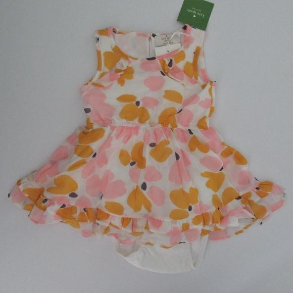 kate spade Other - Kate Spade Paint Daub Floral Ruffle Hem Dress 18m